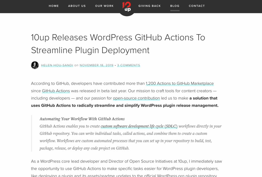 10up Actions from Quick Plugin Deploy from Github • WPShout