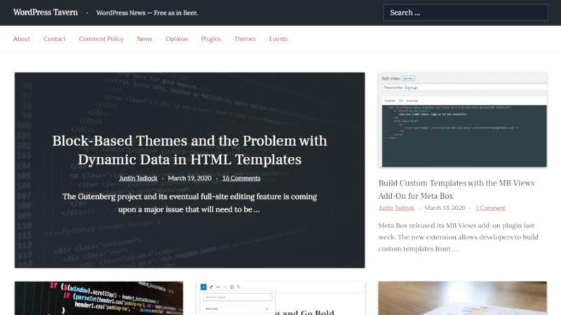 Screenshot of the WordPress Tavern homepage.