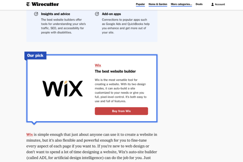 Wirecutter's Website Builder for 2021: Wix