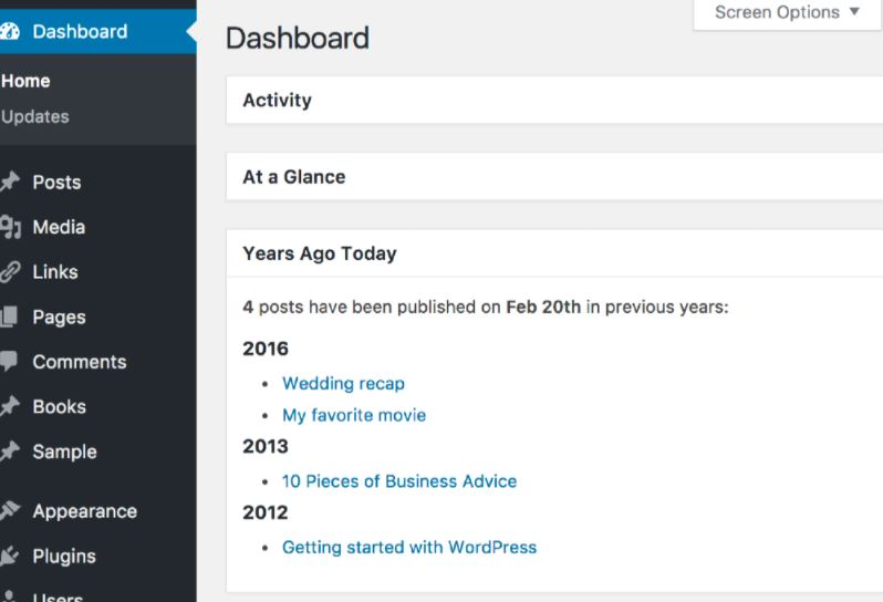 Years Ago Today WordPress Dashboard Widget